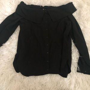 NORDSTROM off the shoulder shirt black new Xs